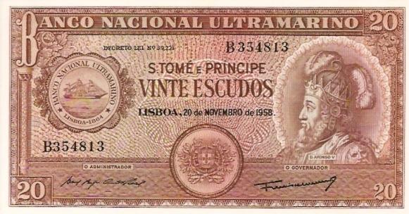 Banco Nacional De S.Tome E Principe  20 Escudos  1976 Provisional Issue Dimensions: 200 X 100, Type: JPEG