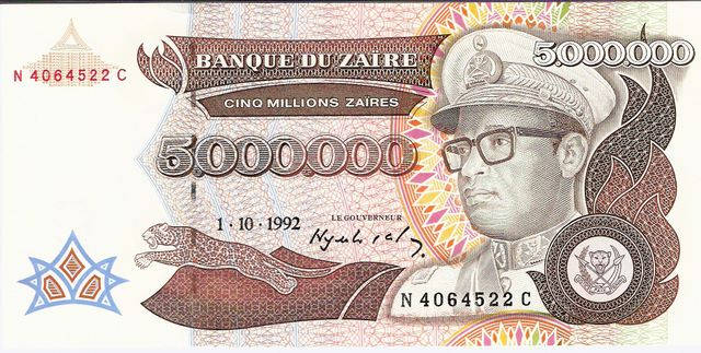 Banque DU Zaire  5000000 Zaire  1993 Issue Dimensions: 200 X 100, Type: JPEG