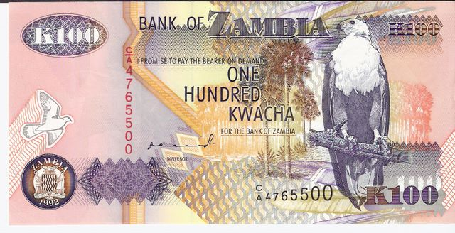 Bank of Zambia  100 Kwacha  1992-1996 ND Issue Dimensions: 200 X 100, Type: JPEG