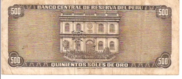 Banco Central De Reserva Del Peru  500 Soles De Oro  1962 - 1964 Issue Dimensions: 200 X 100, Type: JPEG