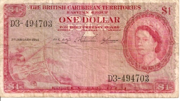 Currency of British Caribbean Terr  1 Dollar  Jan 1958 Issue Dimensions: 200 X 100, Type: JPEG