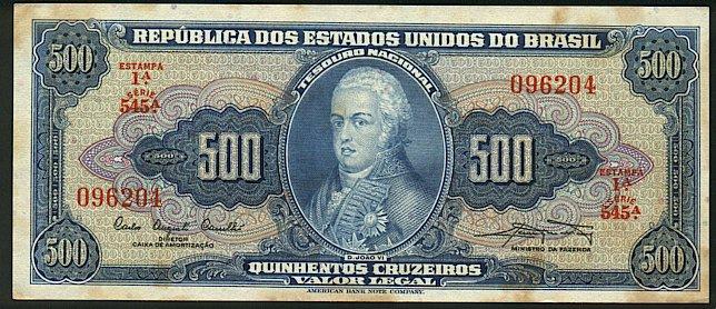 Banco Centrale Do Brasil  500 Cruzeiros  1965-1966 Issue  Denomination written 22 times Dimensions: 200 X 100, Type: JPEG