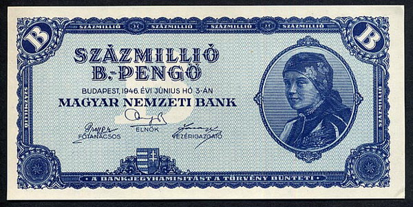 Magar Nemzeti Bank  100,000,000,000,000,000,000 Pengo  June 1946 Issue Date  But was never issued Dimensions: 200 X 100, Type: JPEG