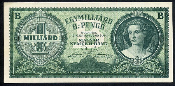 Magar Nemzeti Bank  1,000,000,000,000,000,000,000 Pengo  Dated June 1946  Was never issued Dimensions: 200 X 100, Type: JPEG