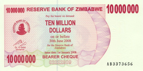 Reserve Bank of Zimbabwe  10,000,000 Dollars  June 30 2008 Issue Dimensions: 200 X 100, Type: JPEG