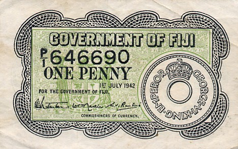 Government of Fiji  1 Penny  July 1942 Issue Dimensions: 200 X 100, Type: JPEG
