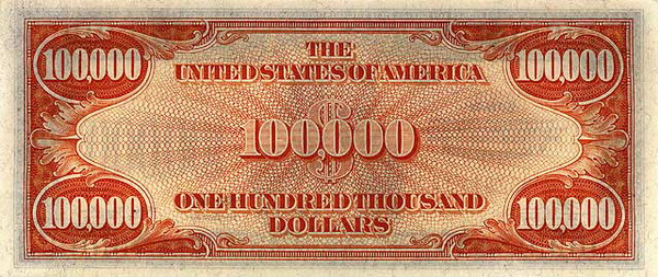 United States of America  $100,000 Dollars  No Date Issue  Never came in circulation Dimensions: 200 X 100, Type: JPEG