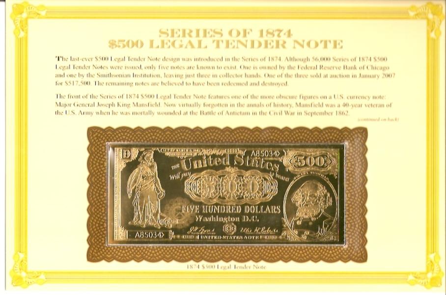 Series of 1874 $500 - Legal Tender Note