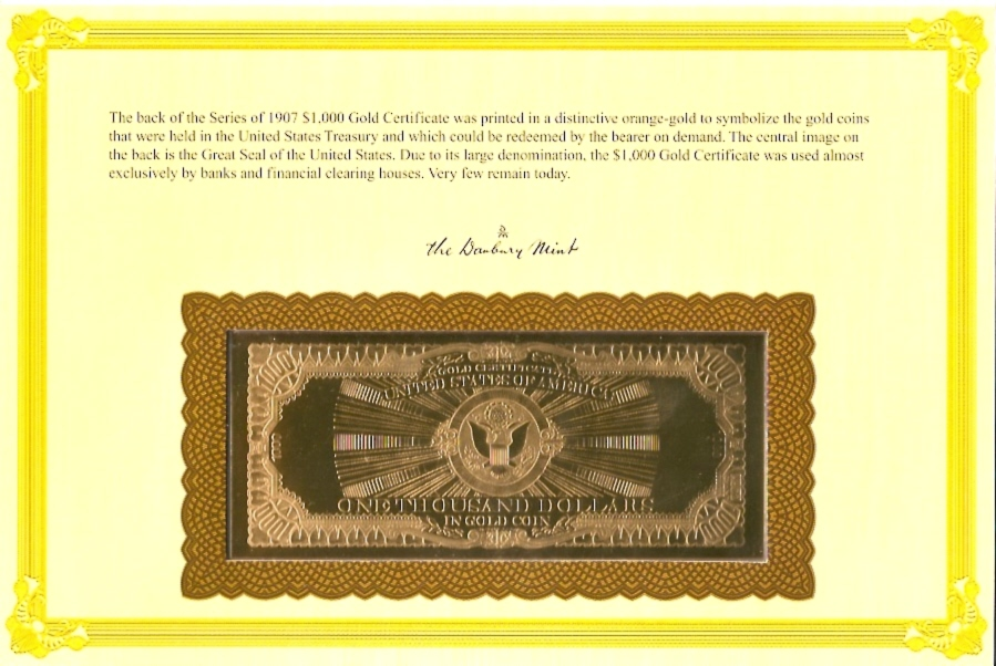 Series of 1907 $1000 - Gold Certificate