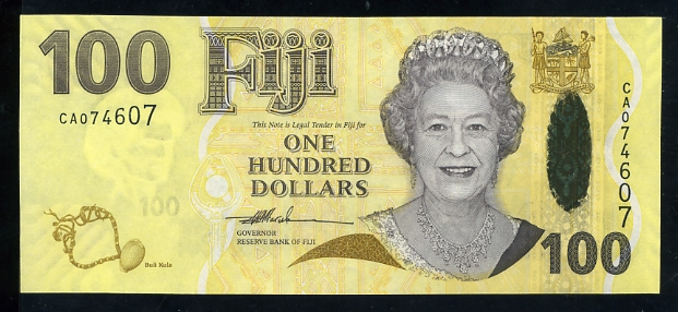 Government of Fiji  100 Dollars  No Date Issue  Printed on Hybrid Polymer Dimensions: 200 X 100, Type: JPEG
