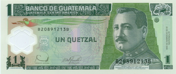 Government of Guatemala  1 Quetzal    No Date Issue  Printed on Polymer (Plastic) Paper Dimensions: 200 X 100, Type: JPEG