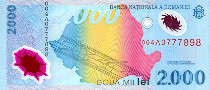Government of Romania  2000 Lei    No Date Issue  Printed on Polymer (Plastic) Paper Dimensions: 200 X 100, Type: JPEG