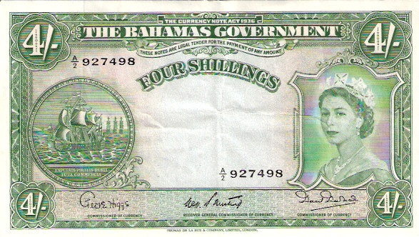 Government of Bahamas   4 Schillings     No Date Issue  Queen Elizabeth II Printed on this Currency Dimensions: 200 X 100, Type: JPEG