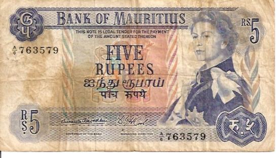 Government of Mauritius   5 Rupees     No Date Issue  Queen Elizabeth II Printed on this Currency Dimensions: 200 X 100, Type: JPEG