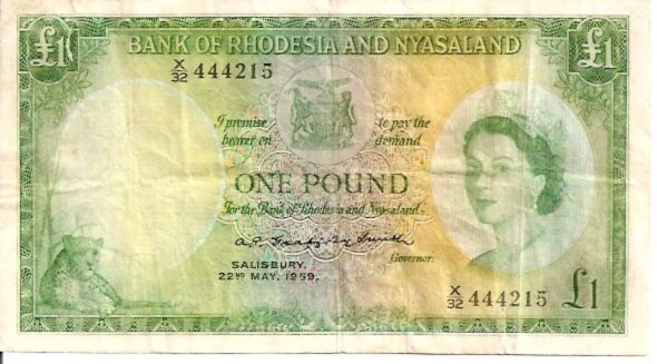 Government of Rhodesia Nyasaland  1 Pound     No Date Issue  Queen Elizabeth II Printed on this Currency Dimensions: 200 X 100, Type: JPEG