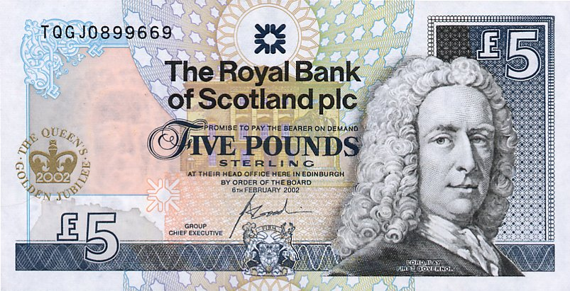 Government of Scotland  5 Pounds     No Date Issue  Queen Elizabeth II Printed on this Currency Dimensions: 200 X 100, Type: JPEG